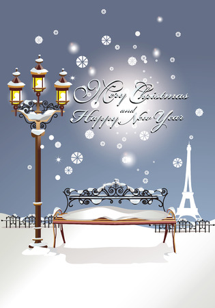 Christmas card, Winter in the Paris park Illustration