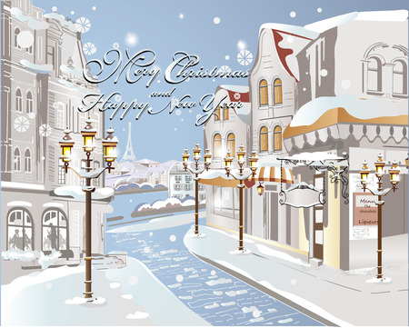 Winter on the streets of the old city, Christmas card 版權商用圖片 - 38171514