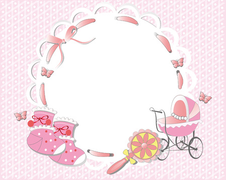 Marco de los niños decorado con una cinta de color rosa, carro de bebé, calcetines Ilustración de vector