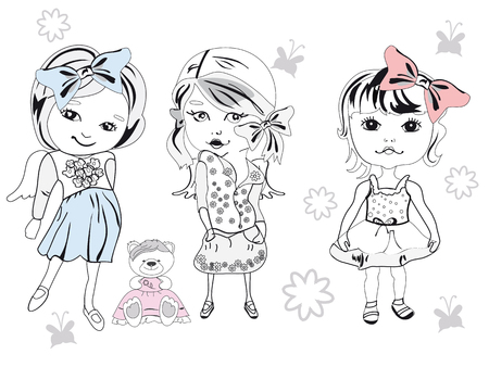 Set of three fashion little girls