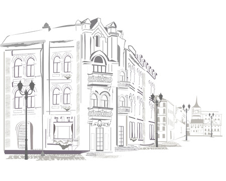 castle district: Series of street views in the old city. Hand drawn vector architectural background with historic buildings.