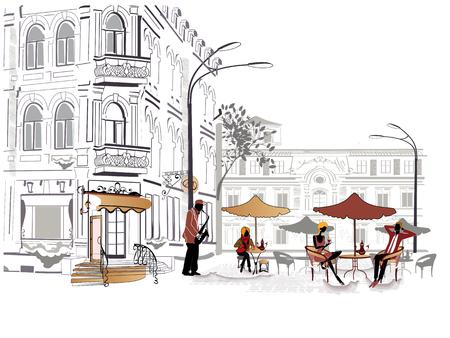 pareja comiendo: Serie de las calles con la gente en la ciudad vieja, músico Vectores