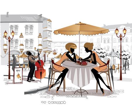 siluetas de mujeres: las chicas de moda en el café de la calle. Vectores