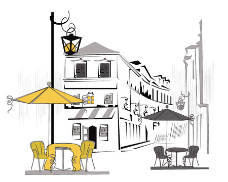 old city: Series of street views in the old city. Hand drawn vector architectural background with historic buildings.