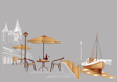 vector chair: Street cafe at the sea Illustration