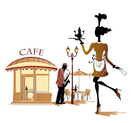 Serie van straat cafés in de stad met muzikanten en mensen die koffie drinken