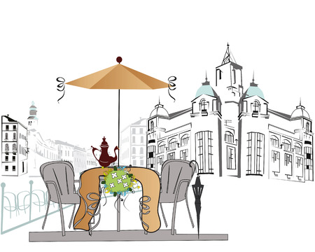 old city: Series of sketches of beautiful old city views with cafes
