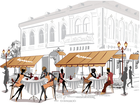 People relaxing in the street cafe Stock Illustratie