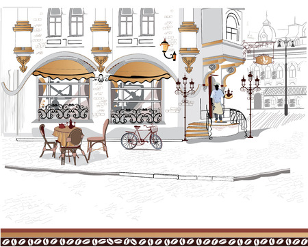 Series of the streets with people in the old city  イラスト・ベクター素材
