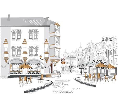 Serie van straat cafés in de oude stad