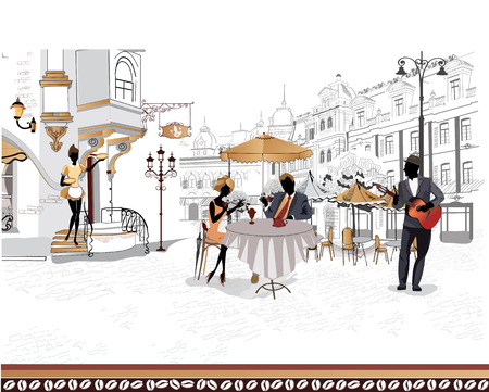 outdoor cafe: Series of the streets with people in the old city, street cafe Illustration
