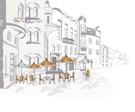 Series of sketches of beautiful old city views with cafes - coffee frame Illusztráció