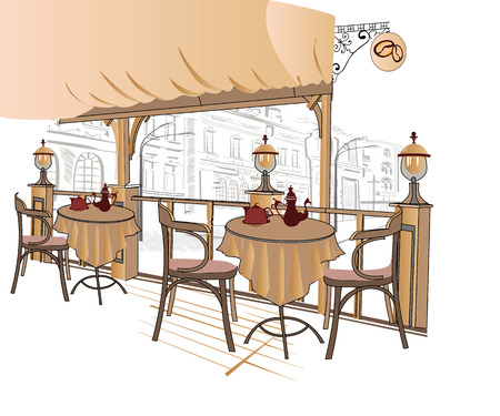 outdoor furniture: Series of street cafes