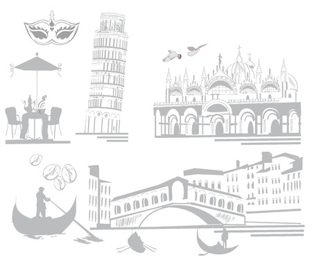 marco: Set of sketches of attractions in Italy