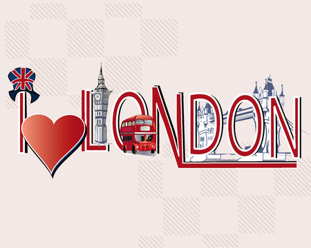 abbey: London lettering decorated with London symbols Illustration