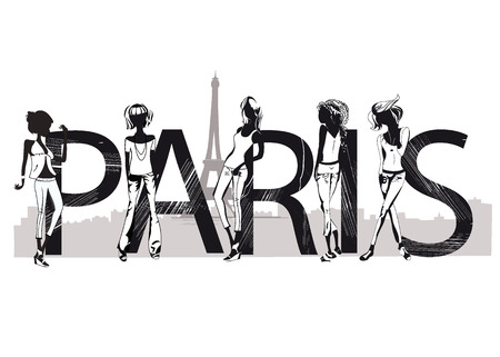 Paris lettering with silhouettes of fashion girls 向量圖像