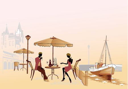 Serie de cafés de la calle en la ciudad con gente bebiendo café Foto de archivo - 39709250