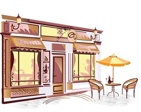 Series of street cafes in the old city Vector