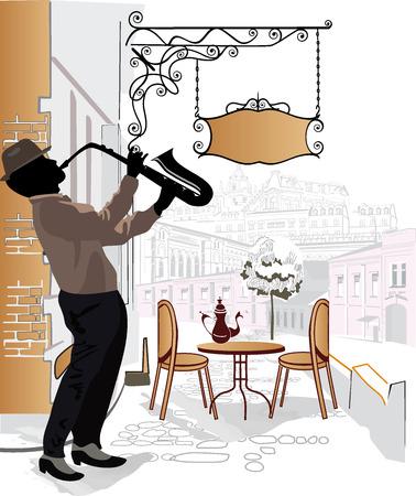 pareja comiendo: Serie de las calles con músicos de la calle