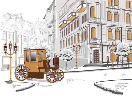 Reeks schetsen van mooie oude uitzicht op de stad