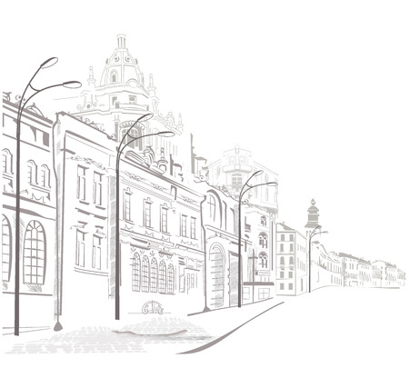 lijntekening: Reeks schetsen van de straten in de oude stad