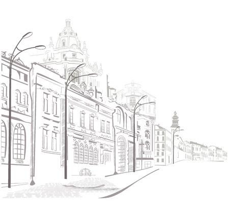 dessin noir et blanc: Série de croquis de la rue dans la vieille ville Illustration