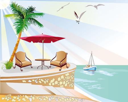 beach ad: Cafe near the sea Illustration