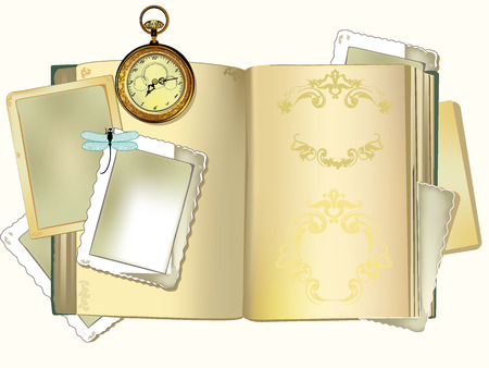 Old book with old photo and paper frames, clock for background Vector