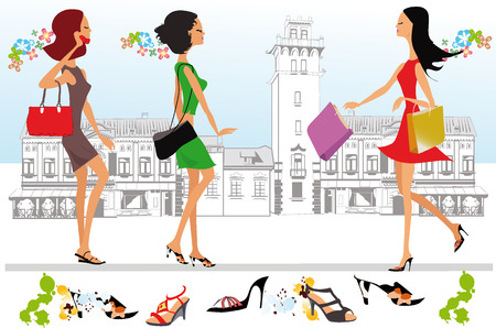 old city: Fashion girls go shopping the streets of the old city Illustration