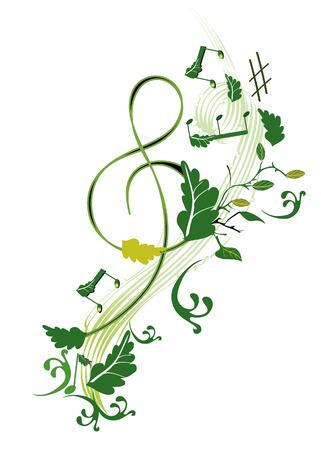 装飾的な花高音部記号  イラスト・ベクター素材