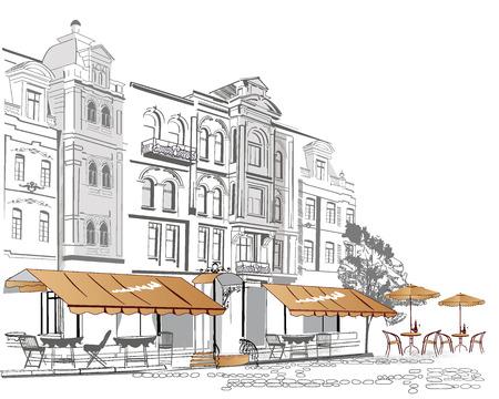 Serie van straat cafés in de oude stad Stockfoto - 39709301