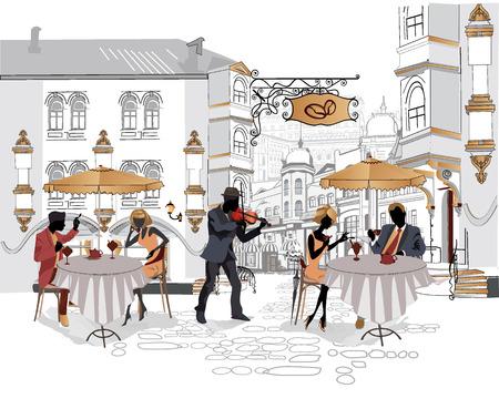 Serie de cafés de la calle en la ciudad con los músicos
