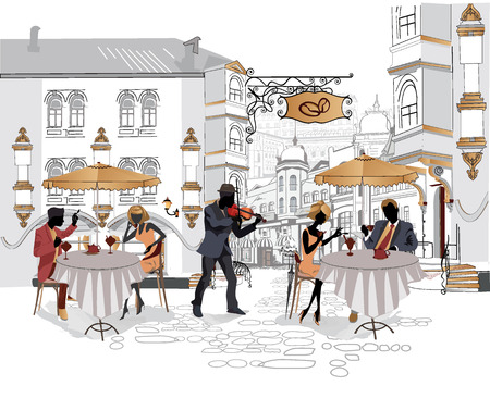 Series of street cafes in the city with musicians