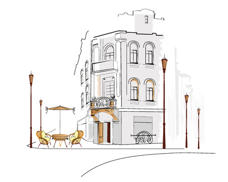 cafe table: Series of street cafes in the old city
