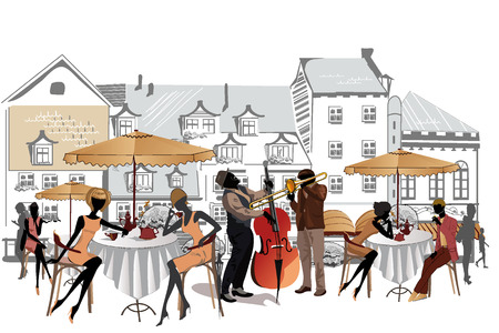 personas en la calle: Serie de cafés de la calle en la ciudad con la gente tomando café y músicos
