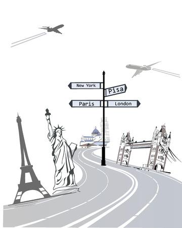 El concepto abstracto de los viajes a lugares de interés Vectores