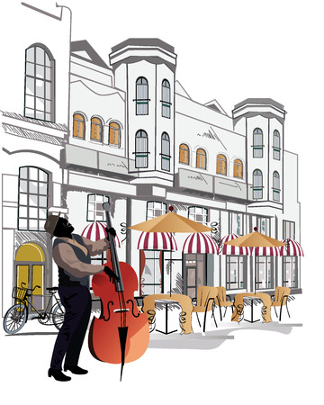 Series of sketches of beautiful old city views with cafes and a musician