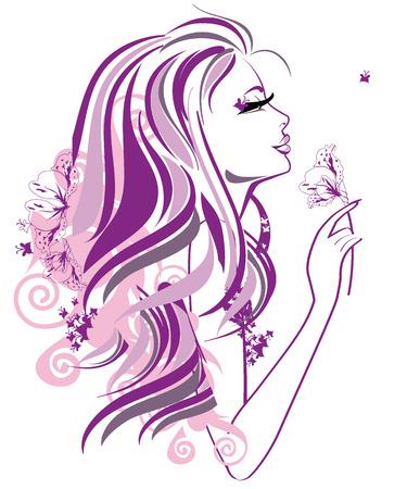 orchidee: Abstract bella donna con fiori e farfalle in linee