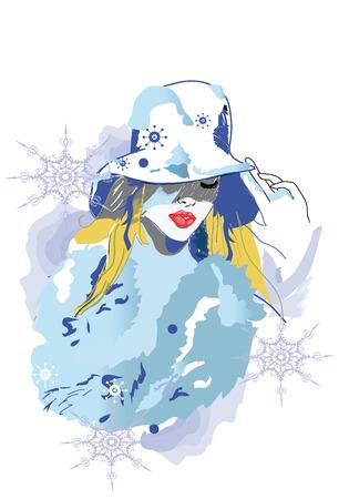 woman in fur coat: Abstract winter girl