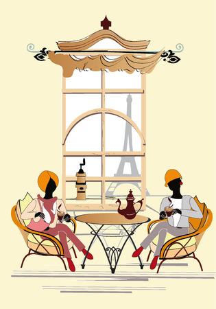 pareja comiendo: Muchachas de la manera están en el interior del café en París Vectores