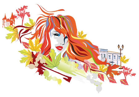 autumn woman: Abstract autumn woman Illustration