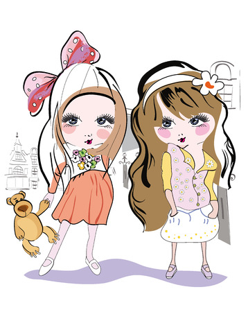 Fashion little girls in the city Vector