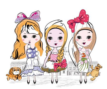 kleine meisjes: Set van drie fashion kleine meisjes in de stad