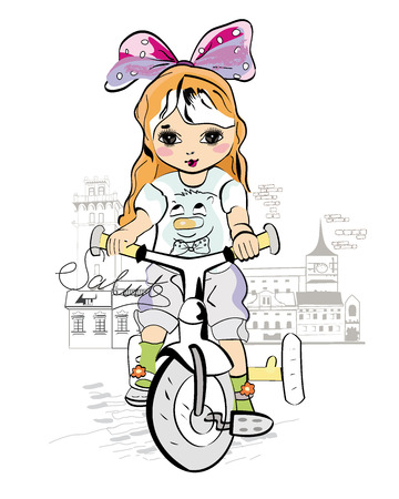 fashion drawing: Sketch of a cute baby girl on the bicycle at the street