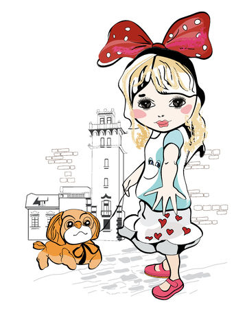 sisters: Sketch of a cute baby girl with a little dog at the street