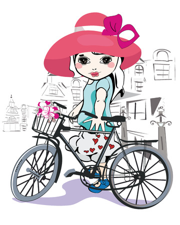 caricature woman: Sketch of a cute little girl in a hat with a bicycle at the street