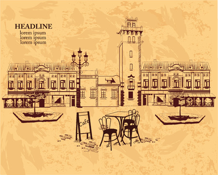london city: Series of backgrounds decorated with old town views and street cafes for brochures flyers for typographic purposes banners. Hand drawn Vector Illustration.