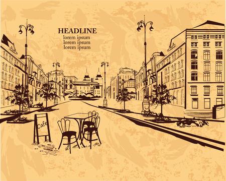 menu de postres: Serie de fondos decorados con vistas al casco antiguo y caf�s de la calle para folletos volantes para fines tipogr�ficos pancartas. Dibujado a mano ilustraci�n vectorial.