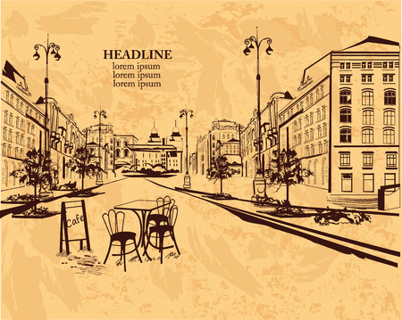 houses street: Series of backgrounds decorated with old town views and street cafes for brochures flyers for typographic purposes banners. Hand drawn Vector Illustration.