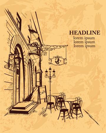 ristorante: Serie di sfondi decorati con vista sulla città vecchia e caffè all'aperto per opuscoli volantini per scopi tipografici striscioni. Disegnata a mano illustrazione vettoriale. Vettoriali